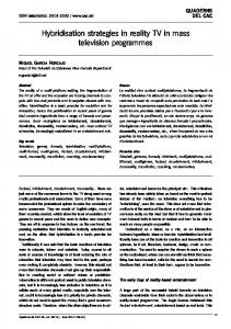 Hybridisation strategies in reality TV in mass television programmes