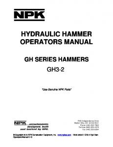 HYDRAULIC HAMMER OPERATORS MANUAL