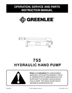 HYDRAULIC HAND PUMP OPERATION, SERVICE AND PARTS INSTRUCTION MANUAL