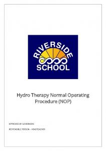 Hydro Therapy Normal Operating Procedure (NOP) APPROVED BY GOVERNORS RESPONSIBLE PERSON HEADTEACHER