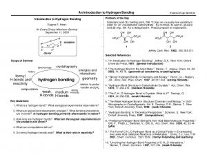 hydrogen bonding formyl H-bonds and reactivity geometry weak medium H-bonds H-bonds An Introduction to Hydrogen Bonding crystallography