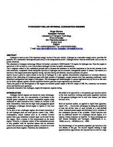 HYDROGEN FUELLED INTERNAL COMBUSTION ENGINES