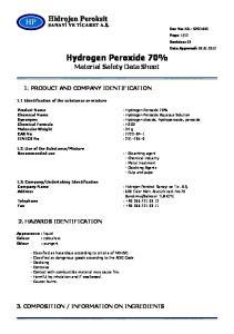 Hydrogen Peroxide 70% Material Safety Data Sheet