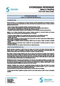 HYDROGEN PEROXIDE Safety & Handling Technical Data Sheet