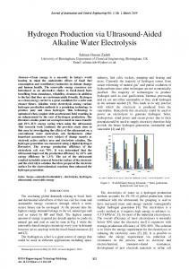 Hydrogen Production via Ultrasound-Aided Alkaline Water Electrolysis