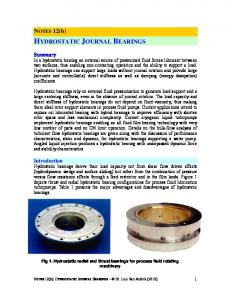 HYDROSTATIC JOURNAL BEARINGS