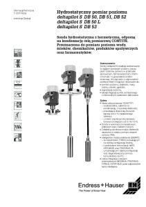 Hydrostatyczny pomiar poziomu deltapilot S DB 50, DB 51, DB 52 deltapilot S DB 50 L deltapilot S DB 53