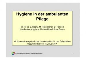 Hygiene in der ambulanten Pflege