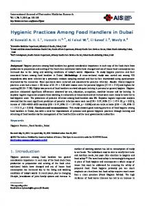 Hygienic Practices Among Food Handlers in Dubai