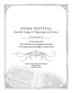 HYMN FESTIVAL Swedish Songs of Pilgrimage and Grace