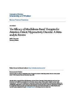Hyperactivity Disorder: A Metaanalytic