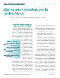 Hyperactivity Disorder (ADHD) in Athletes