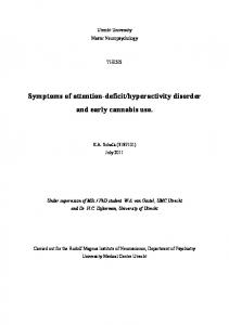 hyperactivity disorder and early cannabis use