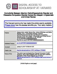 Hyperactivity Disorder and Obsessive-Compulsive Disorder Across the Lifespan: A Systematic and Critical Review