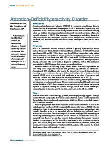 Hyperactivity Disorder Anna Maria Wilms Floet, MD,* Cathy Scheiner, MD, Linda Grossman, MD