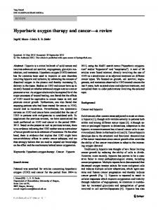 Hyperbaric oxygen therapy and cancer a review