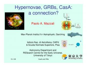 Hypernovae, GRBs, CasA: a connection?