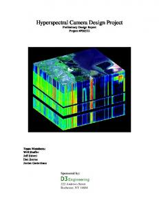 Hyperspectral Camera Design Project Preliminary Design Report Project #P06522