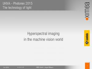 Hyperspectral imaging in the machine vision world