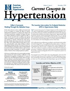 Hypertension. Current Concepts in. The Losartan Intervention For Endpoint Reduction (LIFE) in Hypertension. American. Society of