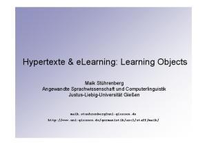 Hypertexte & elearning: Learning Objects