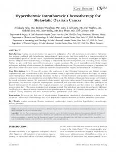 Hyperthermic Intrathoracic Chemotherapy for Metastatic Ovarian Cancer