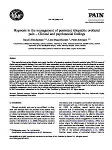 Hypnosis in the management of persistent idiopathic orofacial pain Clinical and psychosocial findings