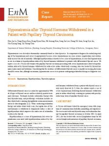 Hyponatremia after Thyroid Hormone Withdrawal in a Patient with Papillary Thyroid Carcinoma