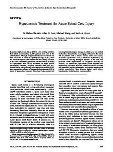 Hypothermic Treatment for Acute Spinal Cord Injury