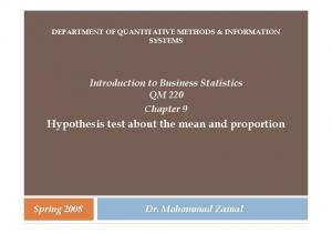 Hypothesis test about the mean and proportion