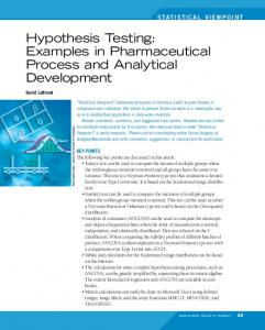 Hypothesis Testing: Examples in Pharmaceutical Process and Analytical Development