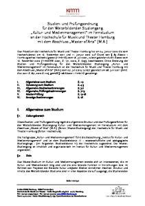 I. Allgemeines zum Studium