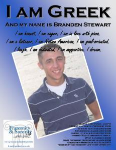 I am Greek And my name is Branden Stewar