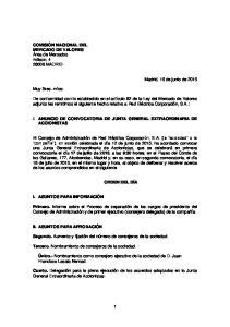 I. ANUNCIO DE CONVOCATORIA DE JUNTA GENERAL EXTRAORDINARIA DE ACCIONISTAS