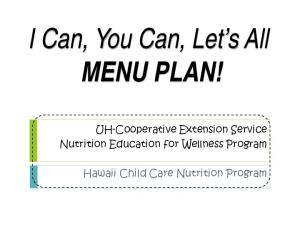 I Can, You Can, Let s All MENU PLAN!