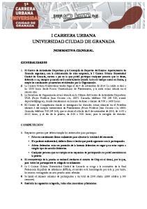 I CARRERA URBANA UNIVERSIDAD CIUDAD DE GRANADA