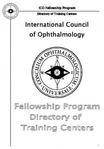 I CO Fellowship Program. Directory of Training Centers