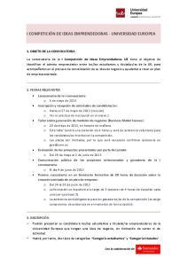 I COMPETICIÓN DE IDEAS EMPRENDEDORAS - UNIVERSIDAD EUROPEA