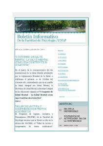 I CONGRESO DE SALUD MENTAL- LA SALUD MENTAL COMO UNA CONSTRUCCION COLECTIVA