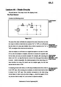i d v i Figure 4A.1 , should be negative. If it is not, then the diode is really on, and we have to repeat the analysis