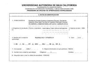 I. DATOS DE IDENTIFICACION