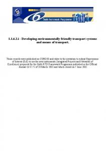 i - Developing environmentally friendly transport systems and means of transport