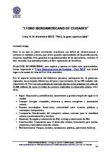 I FORO IBEROAMERICANO DE CIUDADES