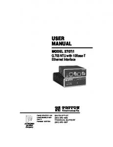 I G.703 NTU with 10Base-T Ethernet Interface. An ISO-9001 Certified Company