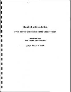 I I I I I I I I I I.I I I I I. Black Folk at Green Bottom. From Slavery to Freedom on the Ohio Frontier I