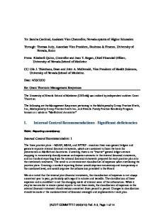 I. Internal Control Recommendations - Significant deficiencies