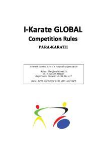 I-Karate GLOBAL Competition Rules