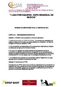 I LIGA POR EQUIPOS COPA REGIONAL DE MURCIA