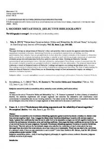 I. MODERN METAETHICS_SELECTIVE BIBLIOGRAPHY
