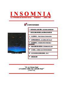 I N S O M N I A EL UNIVERSO DE STEPHEN KING - NÚMERO 4 - ABRIL 1998 CONTENIDO. 2 - NOTA DEL EDITOR - Lectores constantes